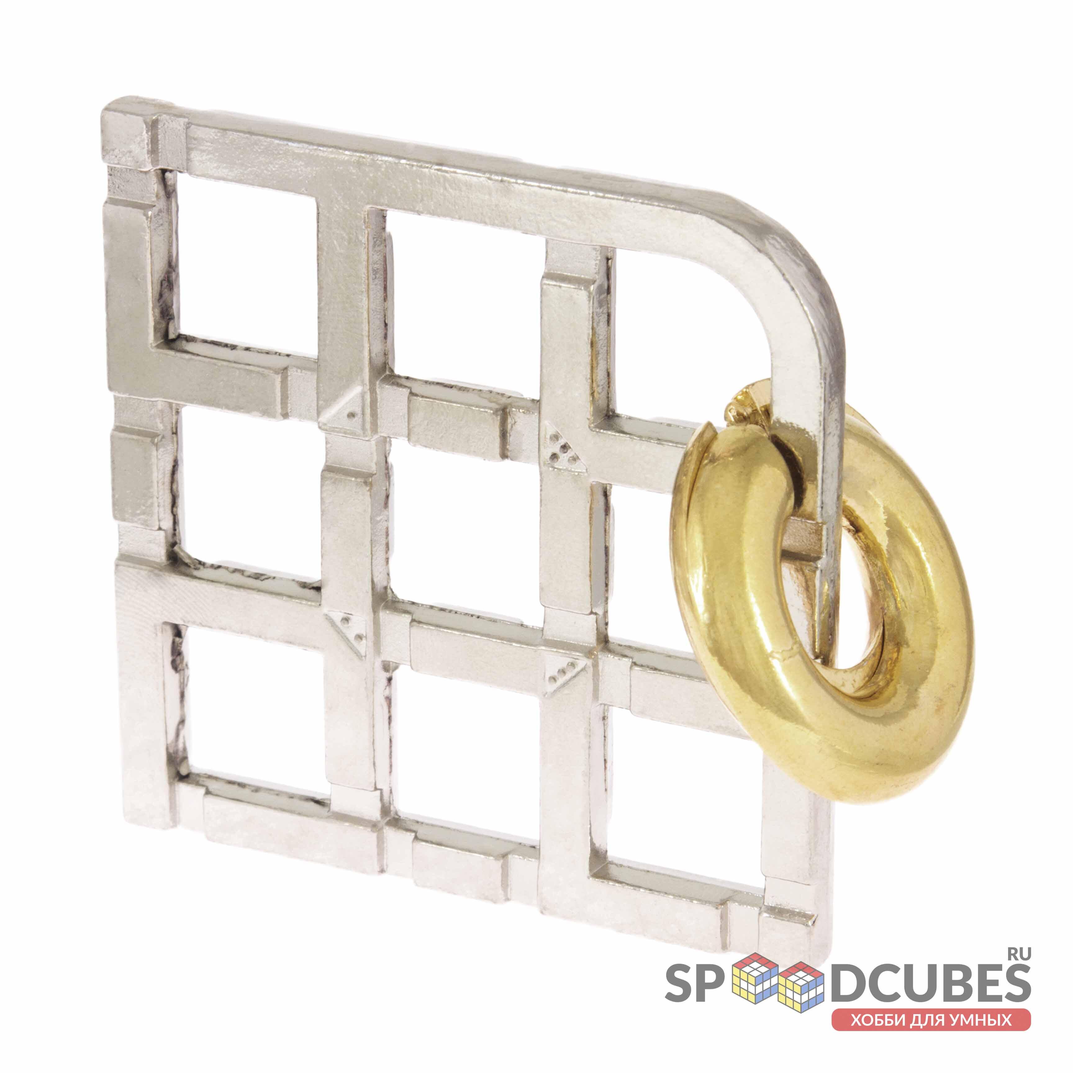 Металлическая головоломка «Решетка и 2 кольца»