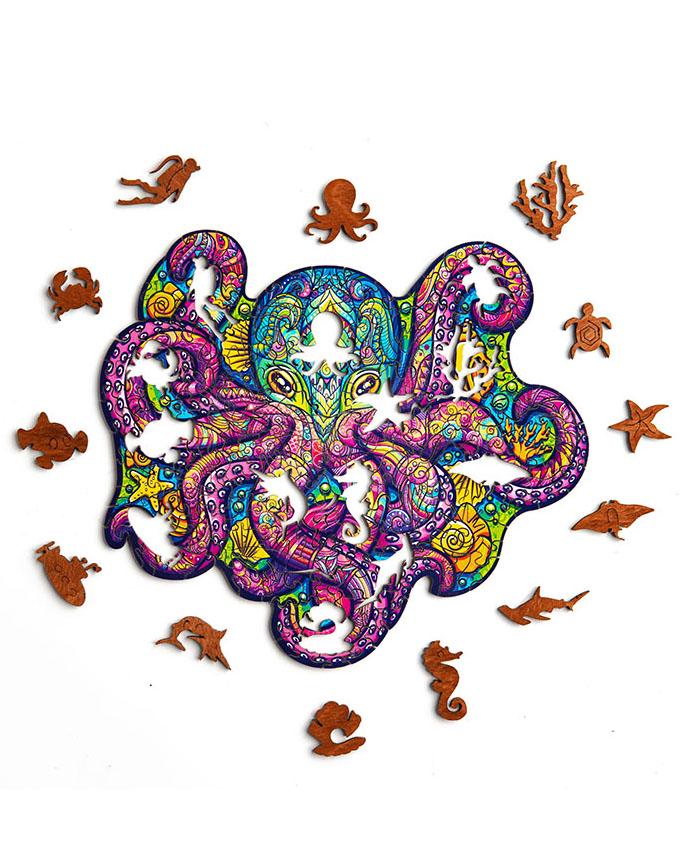 """Деревянный пазл """"Тихоокеанский осьминог"""""""